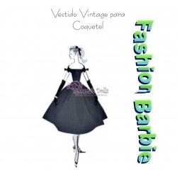 Molde vestido vintage para coquetel